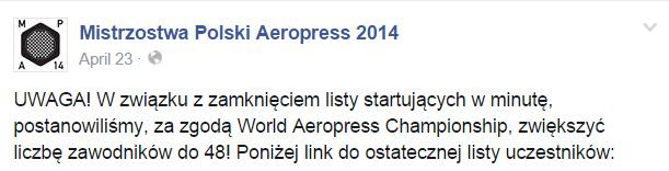 Mistrzostwa Polski Aeropress - Kawa 2014